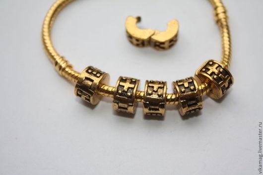 Для украшений ручной работы. Ярмарка Мастеров - ручная работа. Купить Стоппер для браслета Пандора черненое золото. Handmade. Золотой
