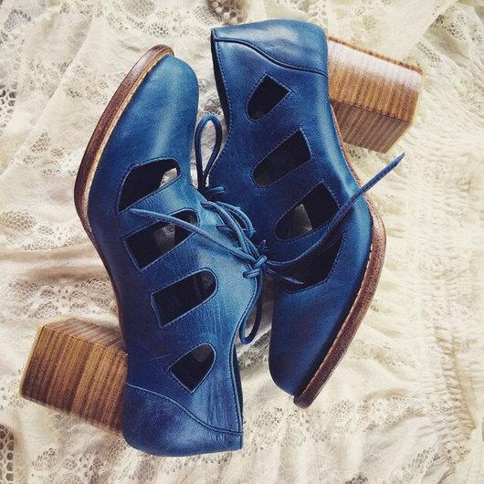 Обувь ручной работы. Ярмарка Мастеров - ручная работа. Купить Moonlight. Необыкновенные кожаные ботильоны.. Handmade. Тёмно-синий, Бали