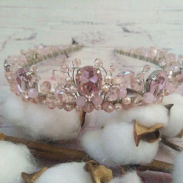 Свадебный салон ручной работы. Ярмарка Мастеров - ручная работа Розовая диадема Свадебное украшение Корона для невесты. Handmade.