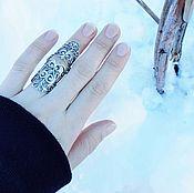 Кольцо на весь палец. Серебро 925 пробы