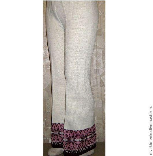 Брюки, шорты ручной работы. Ярмарка Мастеров - ручная работа. Купить Вязаные брюки с норвежским орнаментом. Handmade. Белый