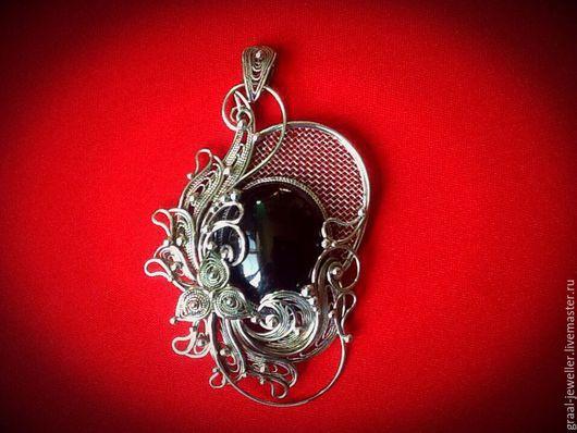 """Кулоны, подвески ручной работы. Ярмарка Мастеров - ручная работа. Купить Кулон с  черным агатом """"Волшебное зеркало."""". Handmade."""