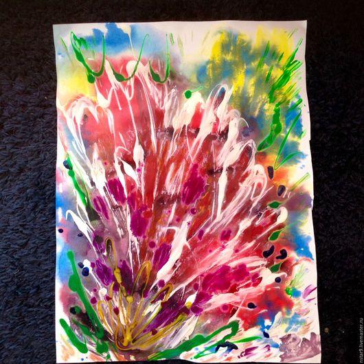 Абстракция ручной работы. Ярмарка Мастеров - ручная работа. Купить Разноцветная фантазия. Смешанная техника.. Handmade. Ярко-красный