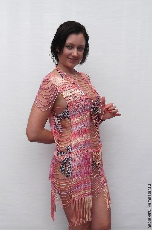 565edce3a97 Пляжные туники ручной работы. Ярмарка Мастеров - ручная работа. Купить  Туника платье Розовый фламинго ...