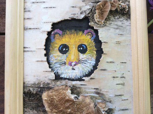 Животные ручной работы. Ярмарка Мастеров - ручная работа. Купить Картина на бересте Соня. Handmade. Желтый, лесная тема, фанера