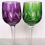 Vintage glasses handmade. Livemaster - original item Stemware colored crystal. Handmade.
