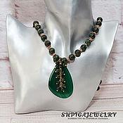 Necklace handmade. Livemaster - original item Necklace made of natural serpentine pendant agate
