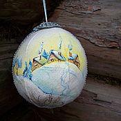 Подарки к праздникам handmade. Livemaster - original item linen Christmas ball with painted.. Fabulous village.... Handmade.