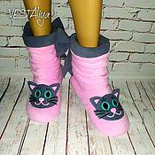 Обувь ручной работы handmade. Livemaster - original item Slippers-boots Kittens. Handmade.
