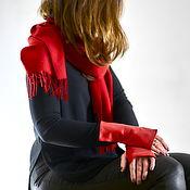 Аксессуары handmade. Livemaster - original item Red leather fingerless gloves. Handmade.