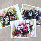 Открытки handmade. Livemaster - original item Set of postcards of Paintings with flowers Cards print paintings Flowers. Handmade.