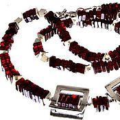 """Украшения ручной работы. Ярмарка Мастеров - ручная работа Гранатовый комплект колье и браслет """"Геометрия"""", серебро. Handmade."""
