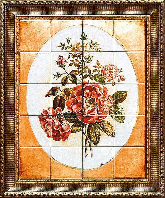 Картины цветов ручной работы. Ярмарка Мастеров - ручная работа. Купить Роспись керамики Роспись плитки Панно на стену Роза. Handmade.