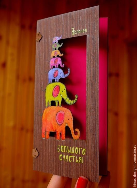 Деревянная эко-открытка `7 слонов большого счастья`