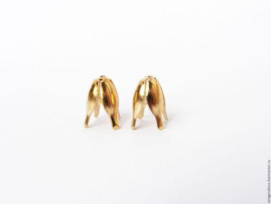 Для украшений ручной работы. Ярмарка Мастеров - ручная работа. Купить Колпачки М8 для жгутов, концевики 4-х листный, золото. Handmade.
