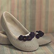 """Обувь ручной работы. Ярмарка Мастеров - ручная работа """"Фиалка"""" детские валяные тапочки балетки. Handmade."""