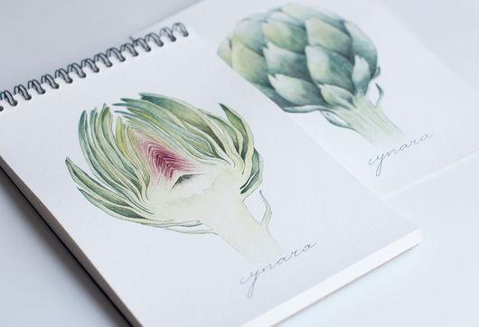 """Картины цветов ручной работы. Ярмарка Мастеров - ручная работа. Купить Акварель """"Любимые артишоки"""". Handmade. Зеленый, акварельный рисунок"""