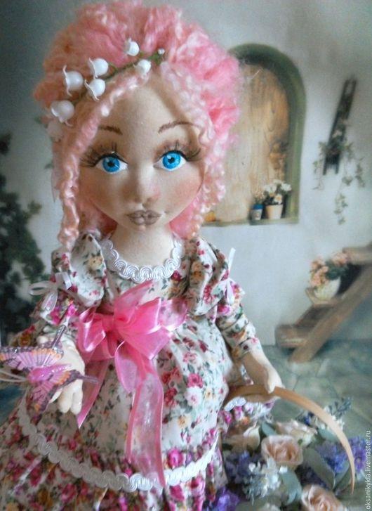 Коллекционные куклы ручной работы. Ярмарка Мастеров - ручная работа. Купить Авторская текстильная куколка Цветочница Анюта. Handmade. Розовый