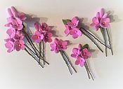 Свадебный салон ручной работы. Ярмарка Мастеров - ручная работа Шпильки с цветами Розовая гортензия из полимерной глины. Handmade.