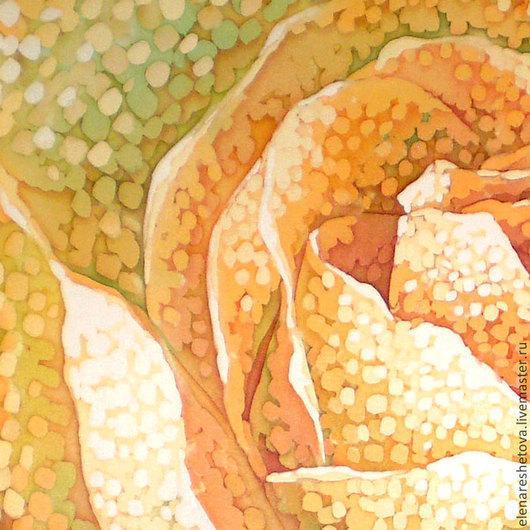 Батик картина Искристая Роза.Панно батик. Желтый. Рыжий. Зеленый. Романтичный. Чувственный. Чувственность. Картины для спальни. Свадебные подарки. Подарок подруге. Картины Решетовой Елены. Магазин под