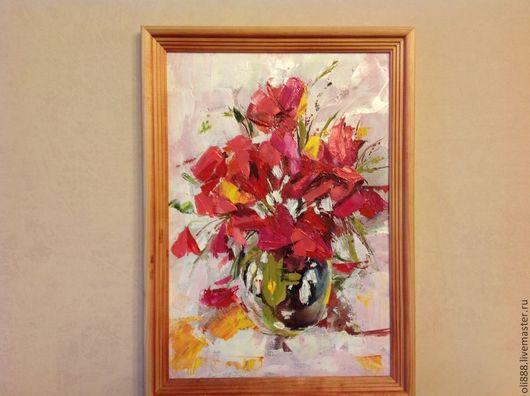 Картины цветов ручной работы. Ярмарка Мастеров - ручная работа. Купить Маки. Handmade. Ярко-красный, подарок на любой случай