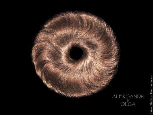 РЕЗИНКА объёмная - шиньон резинка - постиж, русые прямые волосы (из натуральных славянских  волос)
