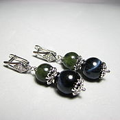 Украшения handmade. Livemaster - original item Earrings with jade and hawk`s eye (petersit)