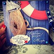 """Открытки ручной работы. Ярмарка Мастеров - ручная работа Мужская открытка """"Море"""". Handmade."""