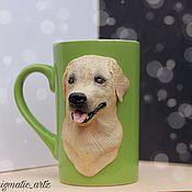 Кружки ручной работы. Ярмарка Мастеров - ручная работа Кружка с лабрадором (с собакой). Handmade.