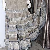 Одежда ручной работы. Ярмарка Мастеров - ручная работа Льняная  длинная авторская юбка в стиле бохо.. Handmade.