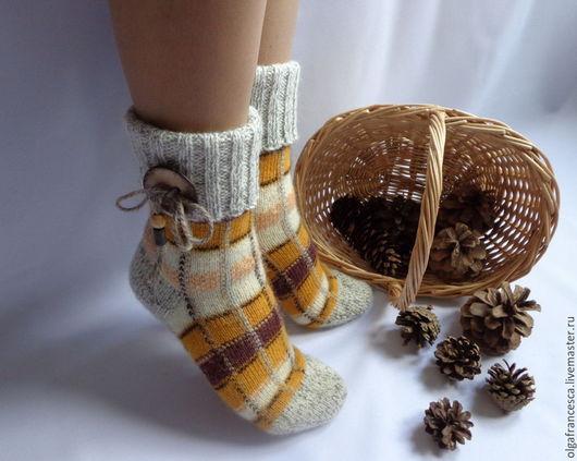 Носки, гольфы, чулки ручной работы. Носки вязаные. Носочки вязаные «Шотландочка» из коллекции «Подарки». Olgafrancesca . Ярмарка мастеров.