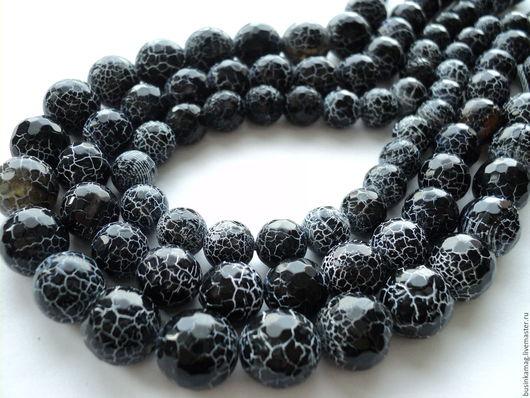 Для украшений ручной работы. Ярмарка Мастеров - ручная работа. Купить Агат черный кракле граненые шарики 10мм, 12мм, 14мм. Handmade.