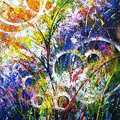 Картины и панно ручной работы. Ярмарка Мастеров - ручная работа Абстрактная картина на холсте Интерьерная живопись Розовые цветы. Handmade.
