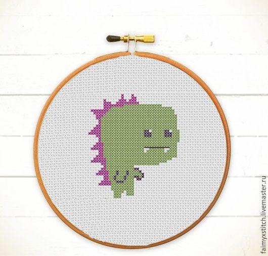 """Вышивка ручной работы. Ярмарка Мастеров - ручная работа. Купить Схема для вышивки крестом """"Нанозавр - крошечный динозавр"""". Handmade. Зеленый"""
