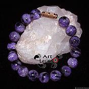 Bead bracelet handmade. Livemaster - original item The bracelet is made of charoite (10 mm) with screw lock brass. Handmade.