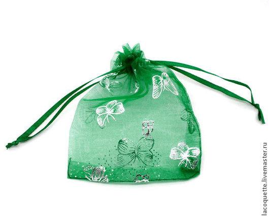 Упаковка ручной работы. Ярмарка Мастеров - ручная работа. Купить 12х9 см мешочек из органзы. Handmade. Зеленый, мешочек, из органзы