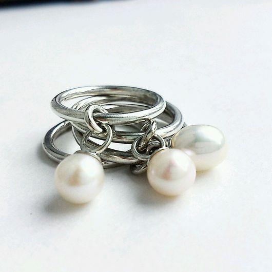 Кольца ручной работы. Ярмарка Мастеров - ручная работа. Купить Серебряное кольцо с подвижной жемчужиной. Handmade. Серебряный, жемчужное кольцо