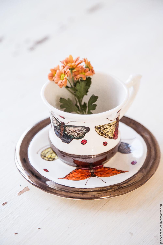 Motley butterflies. Decorative vase handmade ceramics, Single Tea Sets, Zhukovsky,  Фото №1