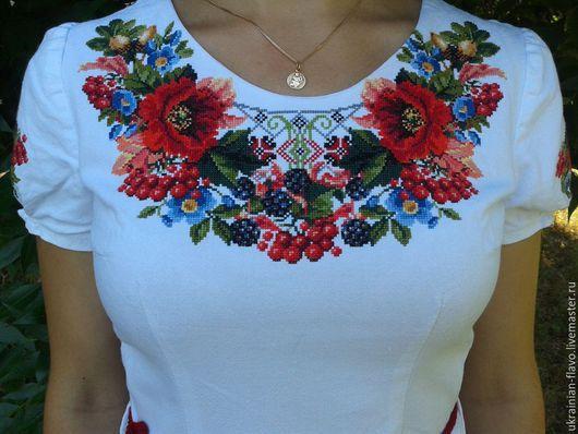 """Платья ручной работы. Ярмарка Мастеров - ручная работа. Купить Платье """"Осіння казка"""". Handmade. Вышивка, вышивка ручная"""