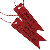 """Материалы для творчества ручной работы. Ярмарка Мастеров - ручная работа Теги """"Merry Christmas"""" 10 штук красные крафт. Handmade."""
