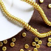 Материалы для творчества ручной работы. Ярмарка Мастеров - ручная работа Бусины золотые, плоские, стекло, 8мм. Handmade.