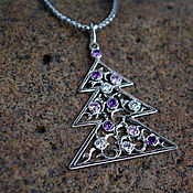 Украшения handmade. Livemaster - original item Tree with amethyst and zircons. Handmade.