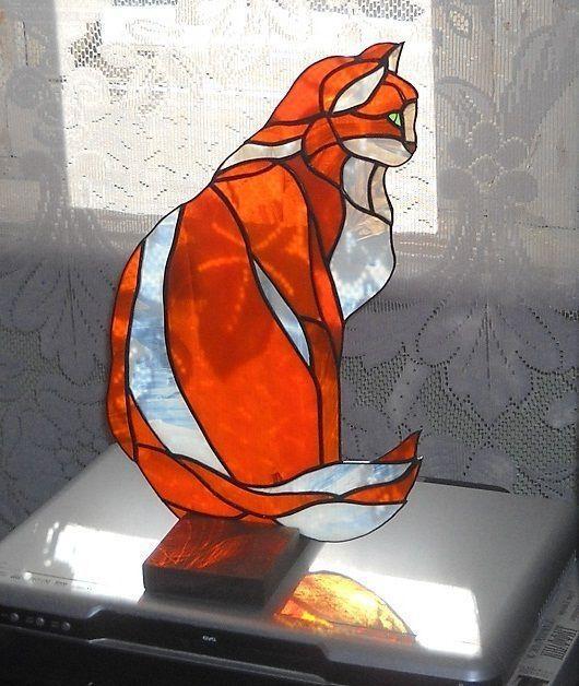 Элементы интерьера ручной работы. Ярмарка Мастеров - ручная работа. Купить Витраж на окно «Кошка». Handmade. Рыжий, кошка, тиффани