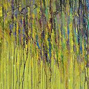 Картина маслом Ивы у воды. ( серый, липовый, желтый) живопись