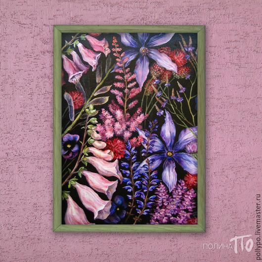"""Картины цветов ручной работы. Ярмарка Мастеров - ручная работа. Купить Картина маслом """"Пряная ночь""""(купить картину, черный, фиолетовый). Handmade."""