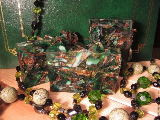 """Мыло ручной работы. Ярмарка Мастеров - ручная работа. Купить Мыло ручной работы """"Осколки малахита"""", зеленый, камень, золотой. Handmade."""