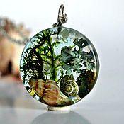 Украшения handmade. Livemaster - original item Pendant with shells,moss from epoxy resin. Handmade.