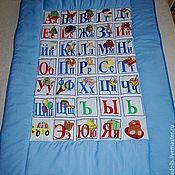 Для дома и интерьера handmade. Livemaster - original item Embroidered baby quilt Alphabet with cushion. Handmade.
