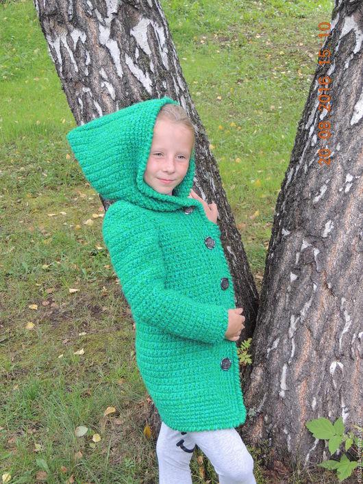 Одежда для девочек, ручной работы. Ярмарка Мастеров - ручная работа. Купить Скидка 50%!!! Пальто-кардиган для девочки.. Handmade. Зеленый