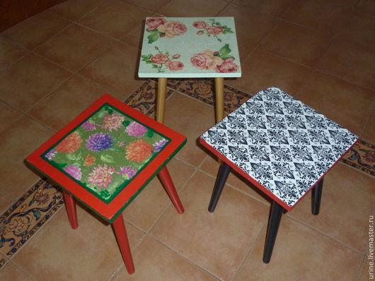 Мебель ручной работы. Ярмарка Мастеров - ручная работа. Купить Табуретка. Handmade. Мебель, лак акриловый, табуретка, краска акриловая